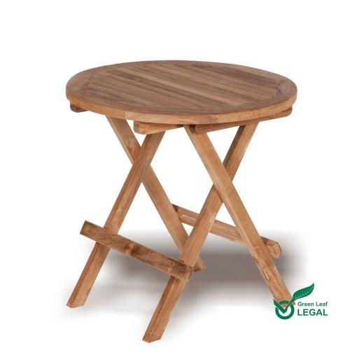 Round Teak Garden Folding Coffee Table