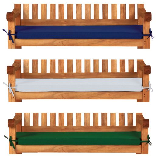 4 seat, 6ft, 180cm garden bench cushions in blue, green and white